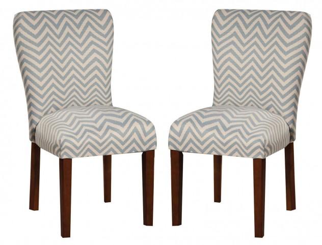 Parson Blue Chevron Dining Chair Set of 2