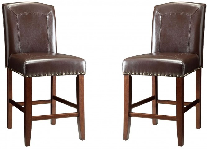 "24"" Brown Bar Stool Set of 2"