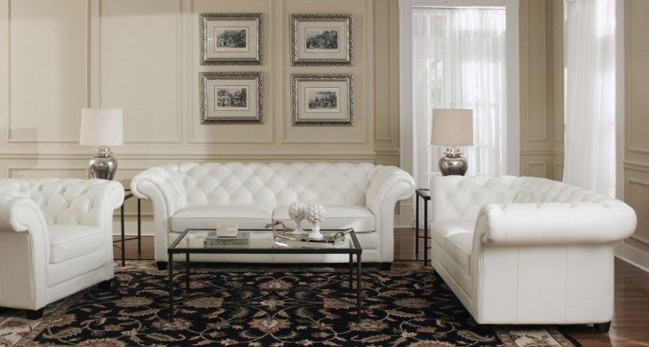 Victoria White Leather Living Room Set