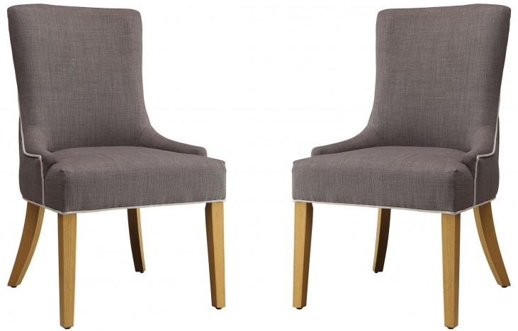 Grey Upholstered Side Chair Set of 2