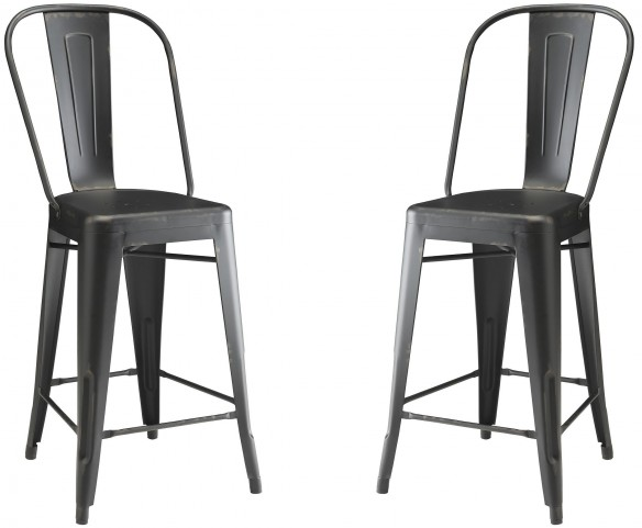 Lahner Black Counter Height Stool Set of 2