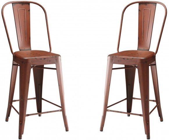 Lahner Red Counter Height Stool Set of 2