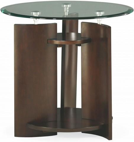 Apex Dark Umber Brown Round End Table