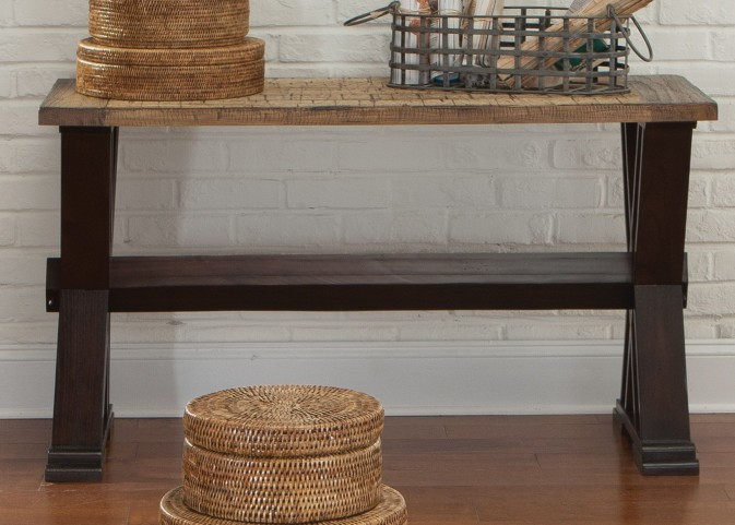 Catalina Weathered Honey and Black Sofa Table