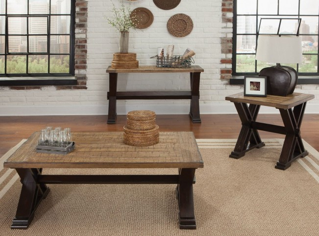 Catalina Weathered Honey and Black Occasional Table Set