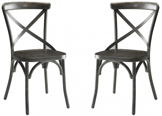 Nagel Antique Brown Side Chair Set of 2