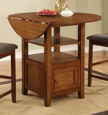 Stockton Warm Brown Drop Leaf Round Counter Height Dining Table