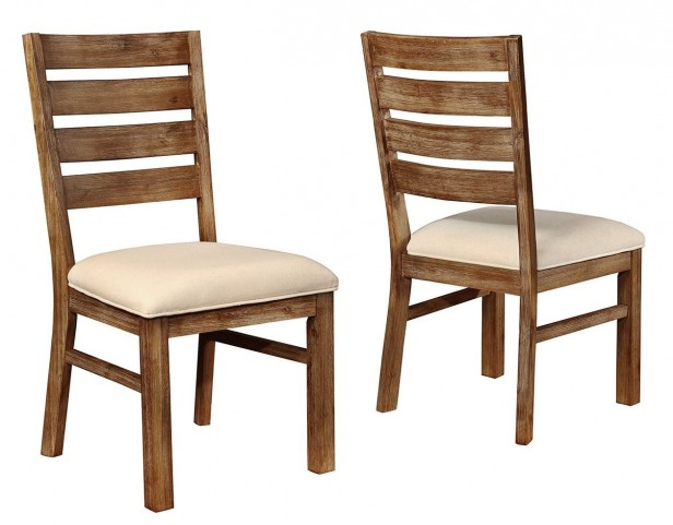 Elmwood Wire Brush Wheat Side Chair Set of 2