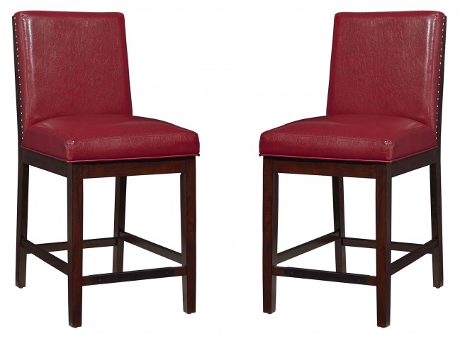 Couture Elegance Red Upholstered Counter Height Chair Set of 2
