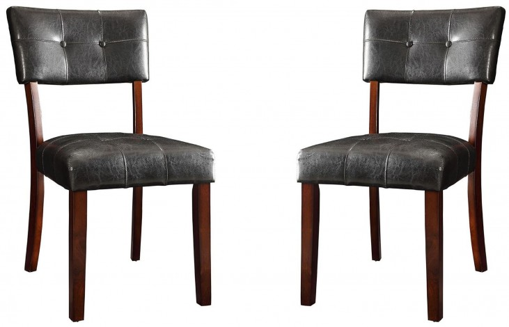 Beaux Cappuccino Brown Leatherette Dining Chair Set of 2