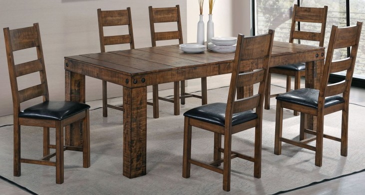Murillo Rustic Honey Extendable Rectangular Dining Room Set