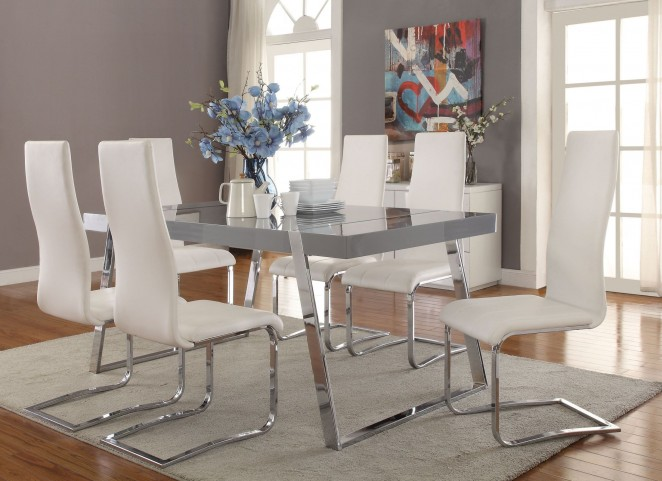 Giovanni High Gloss Grey Dining Room Set