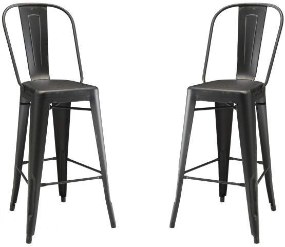 Black Metal Bar Stool Set of 2
