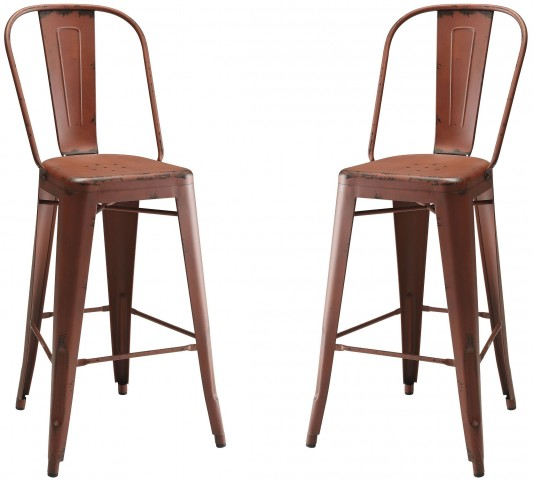 Red Metal Bar Stool Set of 2