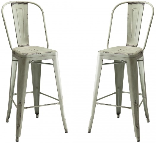Blue Metal Bar Stool Set of 2