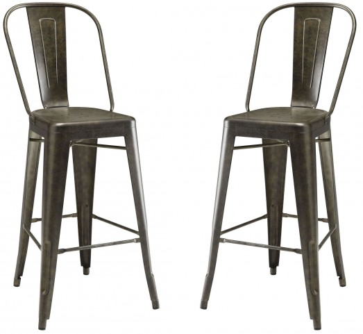 Antique Brown Metal Bar Stool Set of 2