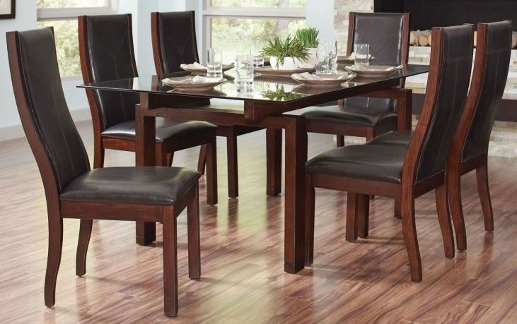 Rossine Red Brown Rectangular Dining Room Set