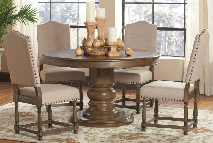 Willem Antique Ash Brown Round Dining Room Set