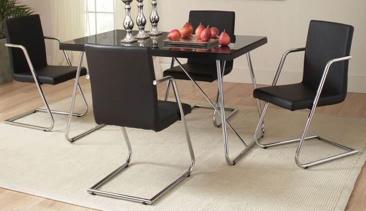 Avram Black Rectangular Dining Room Set