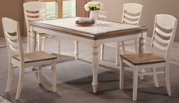 Allston Antique White Rectangular Dining Room Set