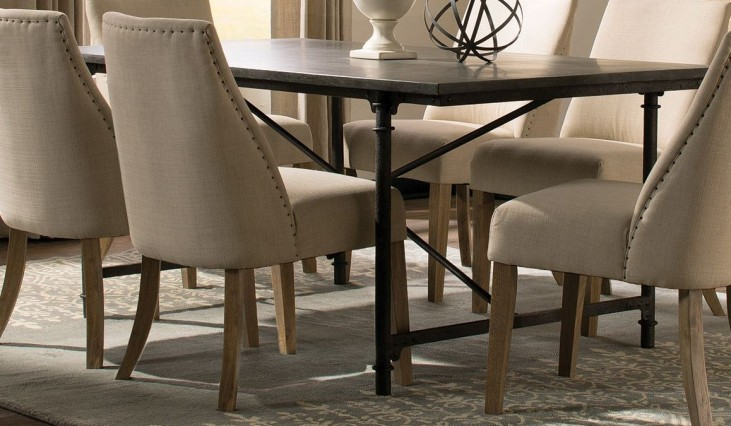 Antonelli Blue Stone and Metal Rectangular Dining Table