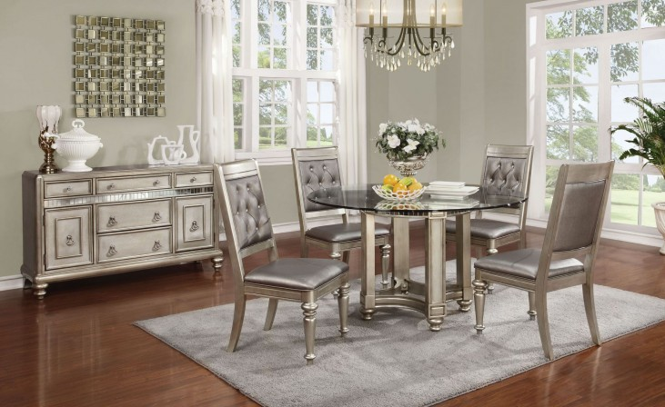 Danette Metallic Platinum Round Dining Room Set