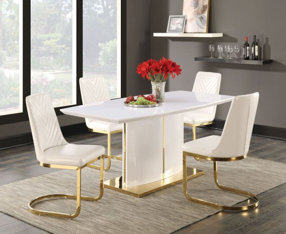 Cornelia High Gloss White Dining Room Set