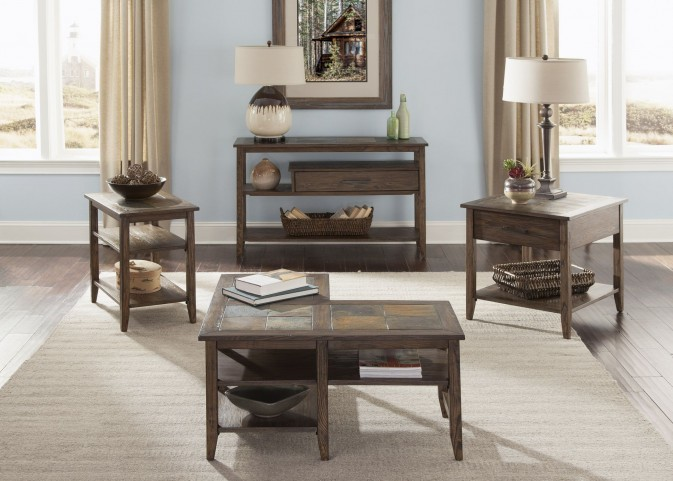 Brookstone Weathered Oak L-Shaped Occasional Table Set