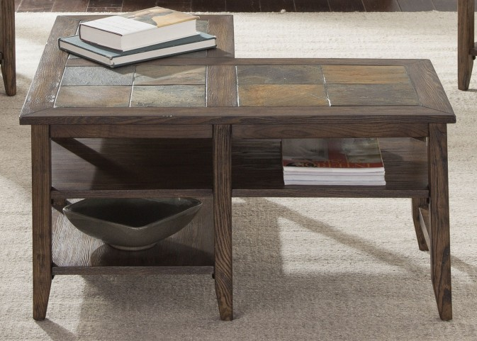 Brookstone Weathered Oak L-Shaped Cocktail Table