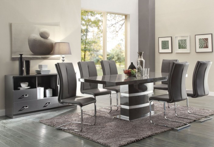 Lowry High Gloss Taupe and Metal Chrome Dining Room Set