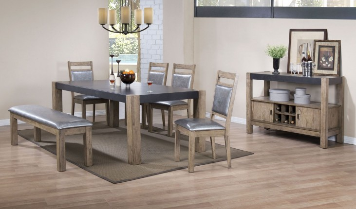 Ludolf Dark Concrete and Antique Natural Dining Room Set