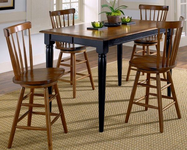 Creations II Black Gathering Extendable Dining Room Set