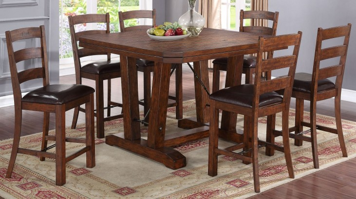 Lanesboro Distressed Walnut Counter Height Dining Room Set