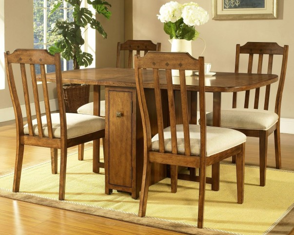 Craftsman Warm Deep Brown Drop Leaf Gate Leg Dining Room Set