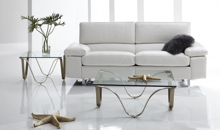 Fiona White Leather Sofa