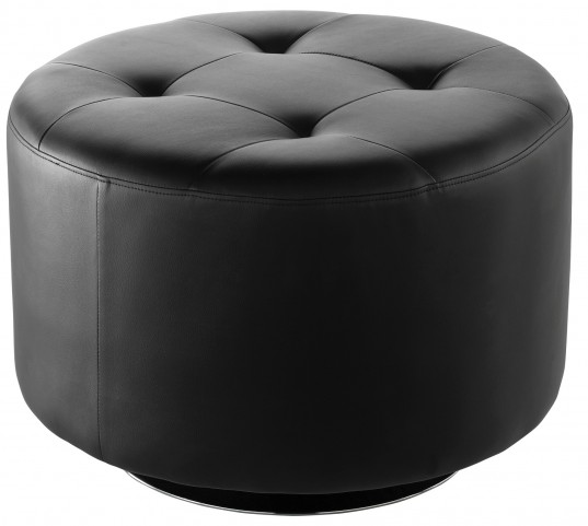 Domani Black Large Swivel Ottoman