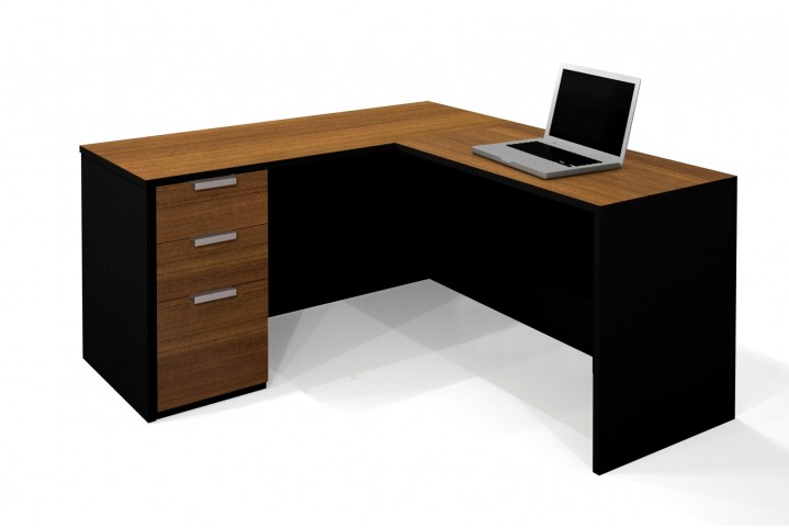 Pro-Concept L-Shaped Workstation In Milk Chocolate Bamboo & Black