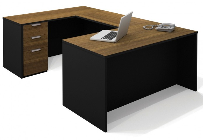 Pro-Concept U-Shaped Workstation In Milk Chocolate Bamboo & Black