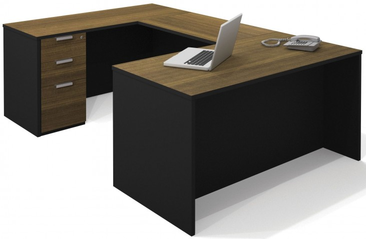 Pro-Concept Milk Chocolate Bamboo & Black U-Shaped Workstation