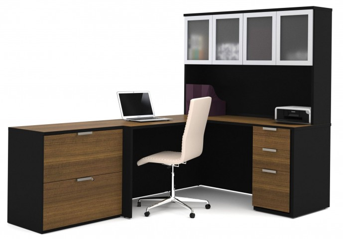 Pro-Concept Milk Chocolate Bamboo & Black L-Shaped Workstation