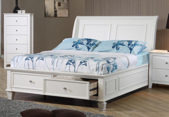 Selena White Twin Sleigh Storage Bed