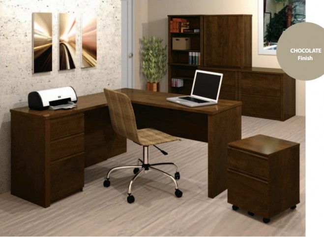 Prestige Plus L-Shaped Workstation In Chocolate