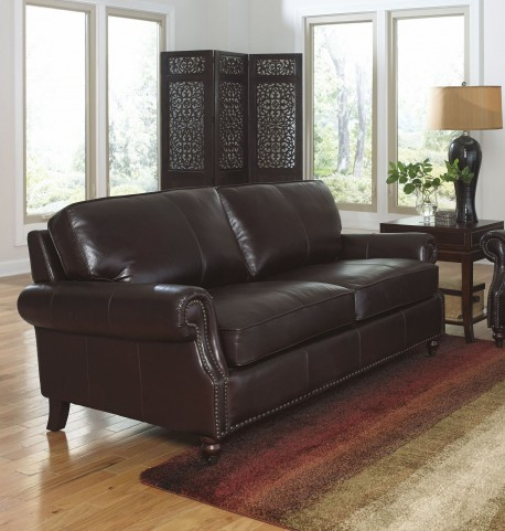 Stockton Dark Chocolate Leather Loveseat