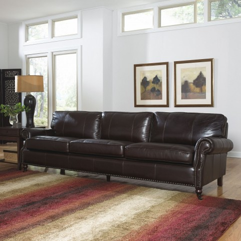 Stockton Dark Chocolate Leather Four Seat Sofa