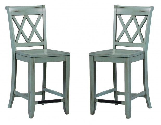 Vintage Antique Blue X-Back Counter Height Stool Set of 2