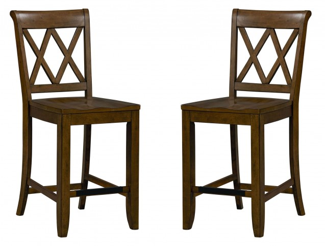 Vintage Sienna Brown X-Back Counter Height Stool Set of 2
