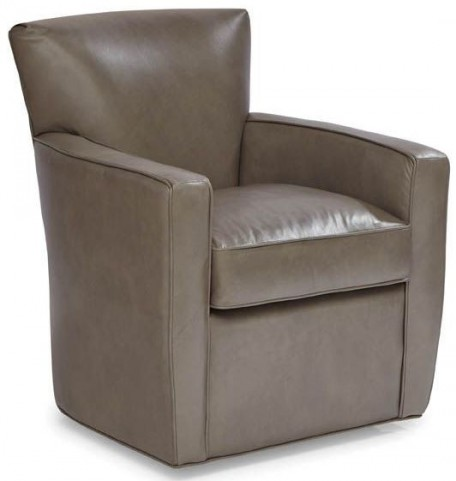 Monica Brentwood Heather Gray Swivel Leather Chair
