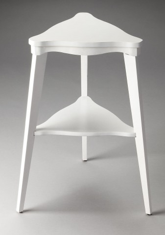 Kent Plantation Cherry Glossy White Tiered Side Table