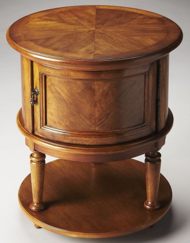 Coffield Masterpiece Olive Ash Burl Drum Table