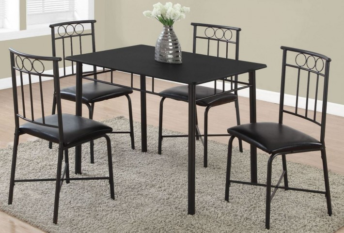 Black Metal 5 Piece Dining Room Set